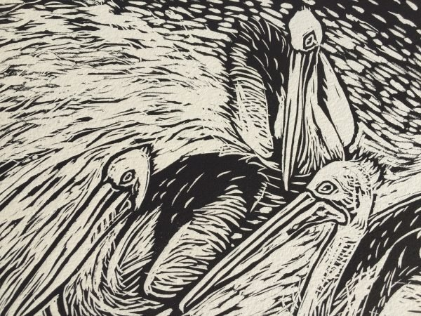 Seaberry Studio-Lino-Print-Three Pelicans