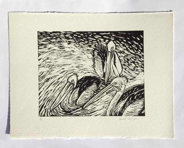Seaberry-Studio-Lino-Print-Three-Pelicans