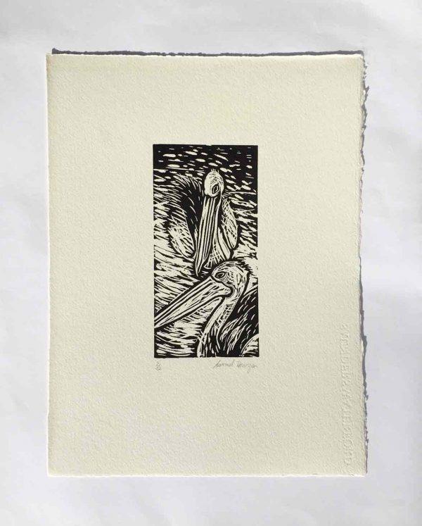 Seaberry-Studio-Lino-print-Two-Pelicans