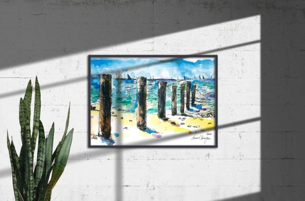 Seaberry-studio-art-print-mccrae-beach-new-pylons