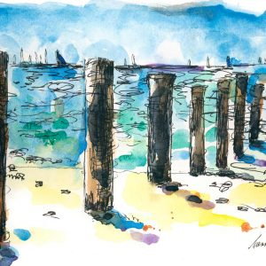 Seaberry-studio-art-print-mccrae-beach-new-pylons